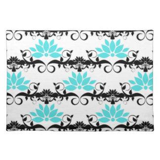 swirly modern aqua white black damask pattern placemat