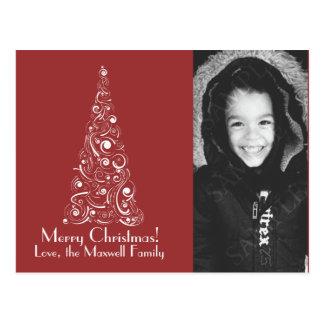 Swirly Modern Tree Custom Photo Christmas Card Postcard