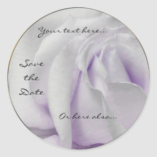 Swirly Pale White and Violet Rose Wedding Stickers
