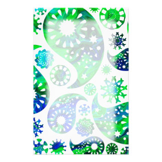 Swirly Pattern Paisley in Green and Blue. Stationery
