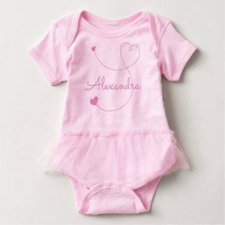 Swirly Pink Hearts Personalize It Custom Name Baby Bodysuit
