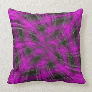 Swirly Pink Plaid Throw Pillow
