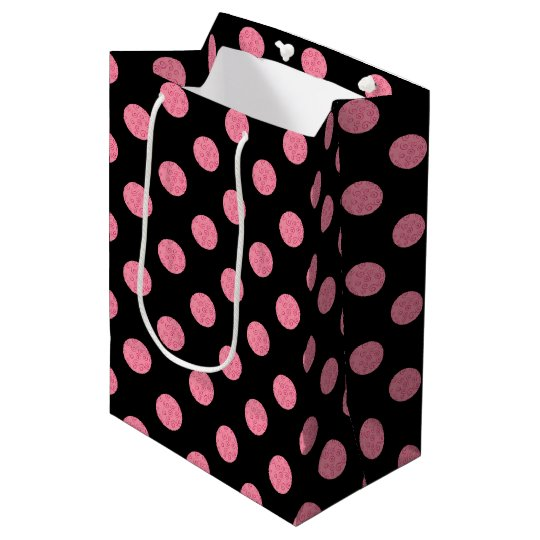 Swirly pink polka dots on black background medium gift bag