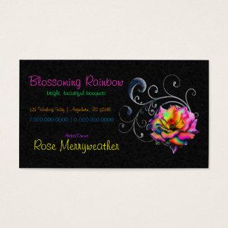Swirly Rainbow Rose Business Card