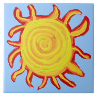 Swirly Red and Yellow Sun Tile