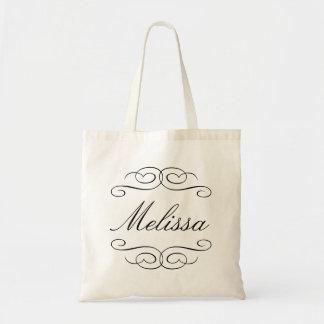 Swirly script bridesmaid personalized gift tote