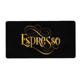 Swirly Script Calligraphy Espresso Gold on Black
