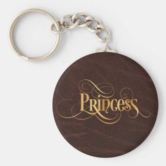 Swirly Script Calligraphy Princess Gold on Leather Keychain