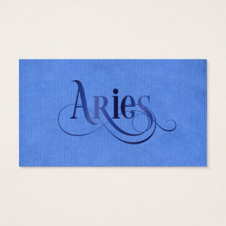 Swirly Script Zodiac Sign Aries Blue Kraft Business Card