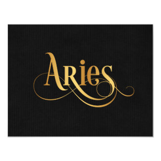 Swirly Script Zodiac Sign Aries Gold on Black Card