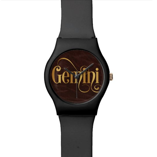 Swirly Script Zodiac Sign Gemini Gold on Leather Wristwatch