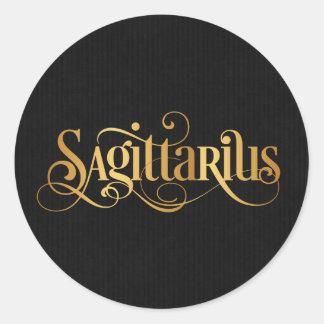 Swirly Script Zodiac Sign Sagittarius Gold Black Classic Round Sticker