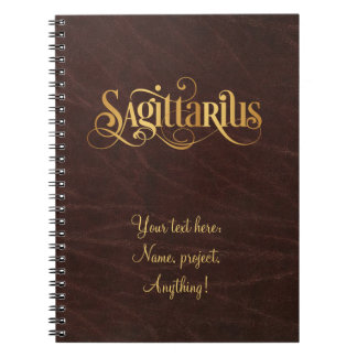 Swirly Script Zodiac Sign Sagittarius Gold Leather Notebook