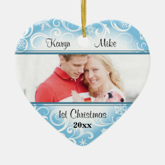 Swirly Snowflakes Couple Photo Heart Ornament