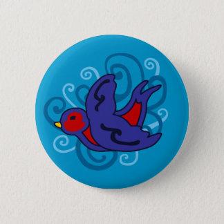 Swirly Swallow 2 Inch Round Button
