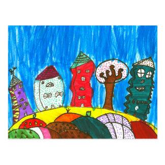 Swirly Town Postcard