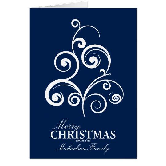 Swirly Tree Personalized Christmas Card