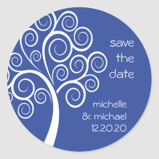 Swirly Tree Save The Date Sticker (Navy Blue)