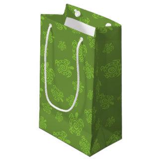 Swirly Turtle Green Pattern Small Gift Bag