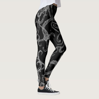 Swirly Vines Designer Leggings (BW Edition)
