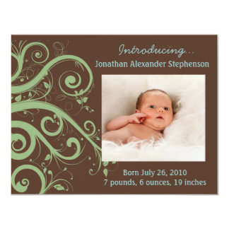 Swirly Vines Green & Brown Baby Boy Photo Birth Card