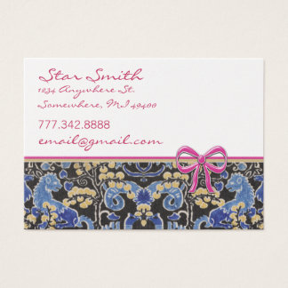 Swirly Vintage Animal Print Blue Tan Raspberry Business Card