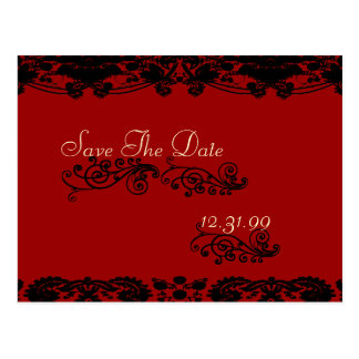 Swirly Vintage Save The Date Floral Damask Postcard