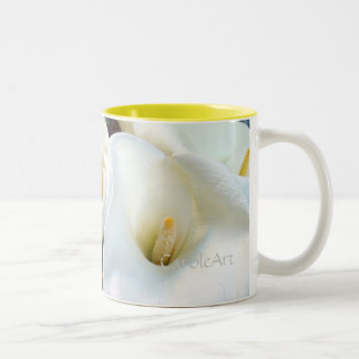 Swirly White Callas Two-Tone Coffee Mug