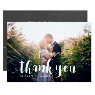 Swirly White Script Overlay Thank You Card
