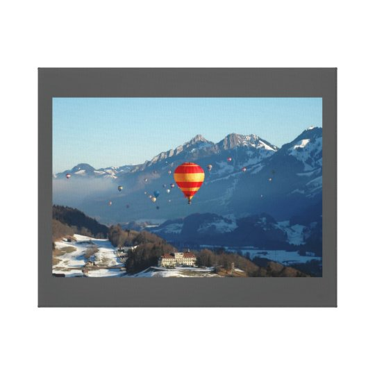 Swiss Alps Hot Balloons, Wrapped Canvas, Glossy Canvas Print