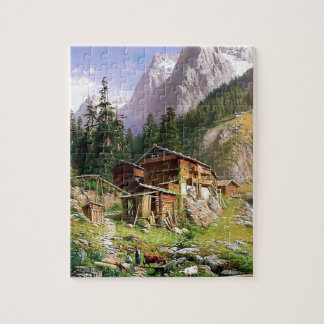 Swiss Alps Log Cabin painting Puzzle