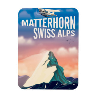 Swiss Alps Matterhorn travel poster Magnet