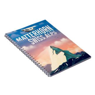 Swiss Alps Matterhorn travel poster Notebook