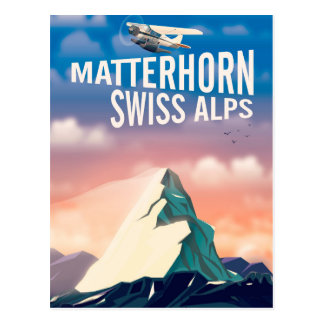 Swiss Alps Matterhorn travel poster Postcard