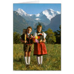 Swiss boy and girl greeting card