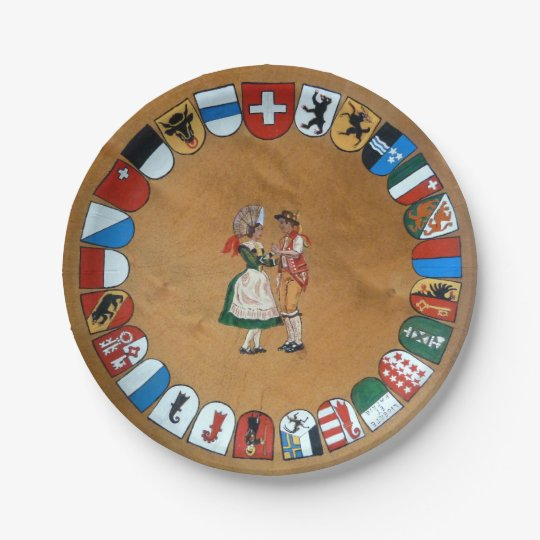Swiss cantons and costumes 7 inch paper plate