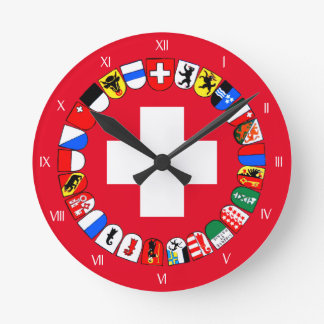 Swiss cantons coat of arms wallclock