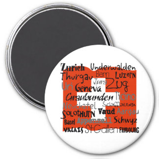Swiss Cantons Lg Button Magnet