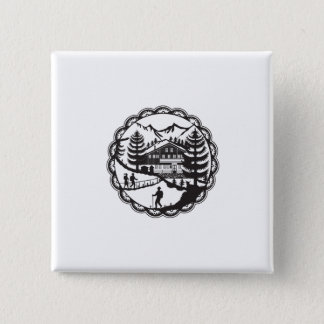 Swiss Chalet Alpine Hiker Decoupage 2 Inch Square Button