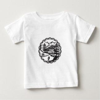 Swiss Chalet Alpine Hiker Decoupage Baby T-Shirt