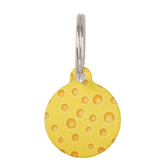 Swiss Cheese Cheezy Texture Pattern Pet ID Tag