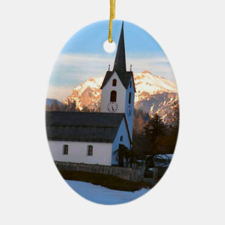 Swiss church in the mountains ceramic ornament