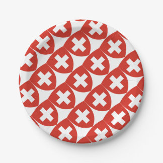 Swiss Coat of Arms Shield Paper Plate