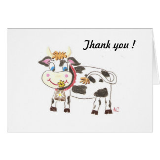 Swiss cow , thank you note card