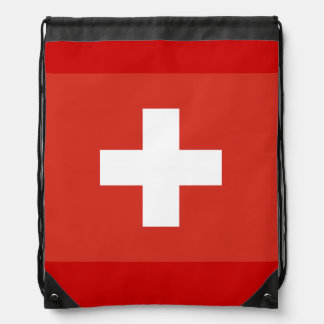 Swiss cross flag drawstring bag | Red and white