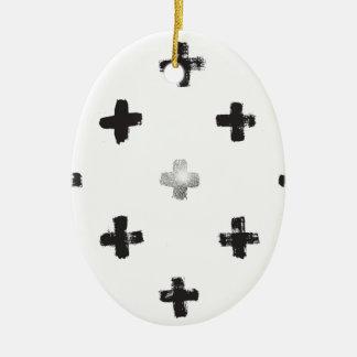 Swiss Cross Pattern Ceramic Ornament