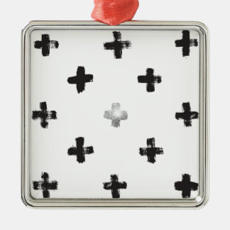 Swiss Cross Pattern Metal Ornament