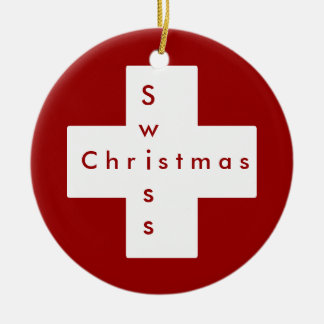 Swiss cross round ceramic ornament