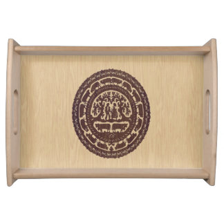 Swiss Cut Out Inlaid Wood Look Serving Tray