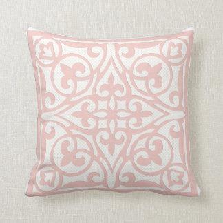 Swiss dot cutwork over linen - coral pink throw pillow